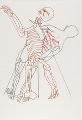 <span>Sidney Nolan</span>(Skeleton, flogged figure and triangle) ascribed title 1978