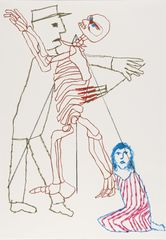 <span>Sidney Nolan</span>Sarah Purfoy with warder flogging skeleton 1978