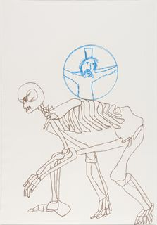 <span>Sidney Nolan</span>(Convict skeleton with crucifix) ascribed title 1978