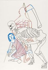 <span>Sidney Nolan</span>(Sarah, skeleton, figure and axe) ascribed title 1978