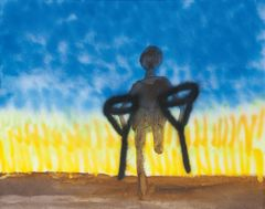<span>Sidney Nolan</span>Walking into the wheat fields on crutches 1982